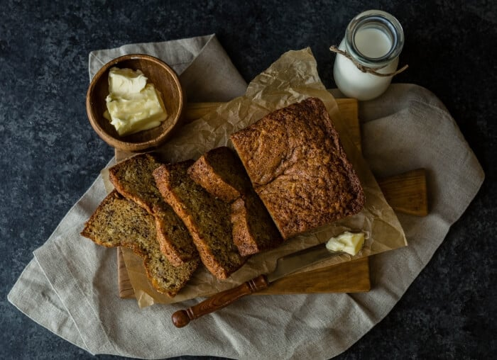 Banana bread butter and milk