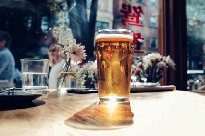Beer in a clear drinking glass
