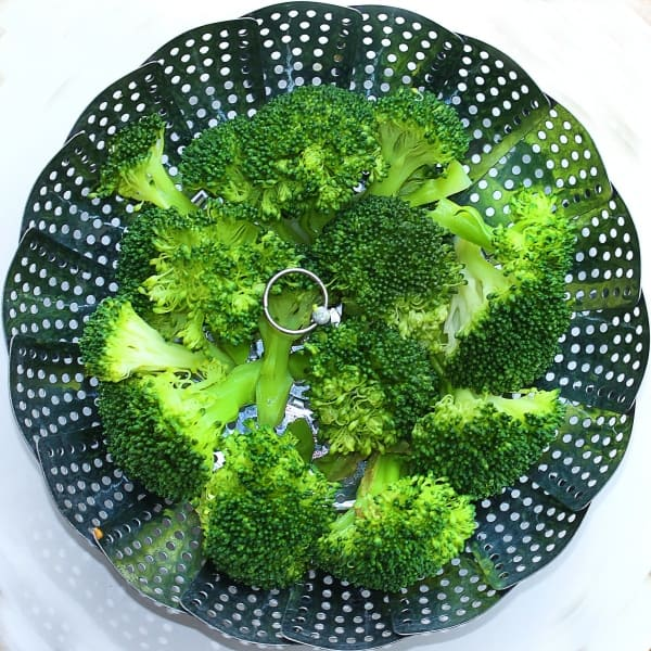 Broccoli on steamer