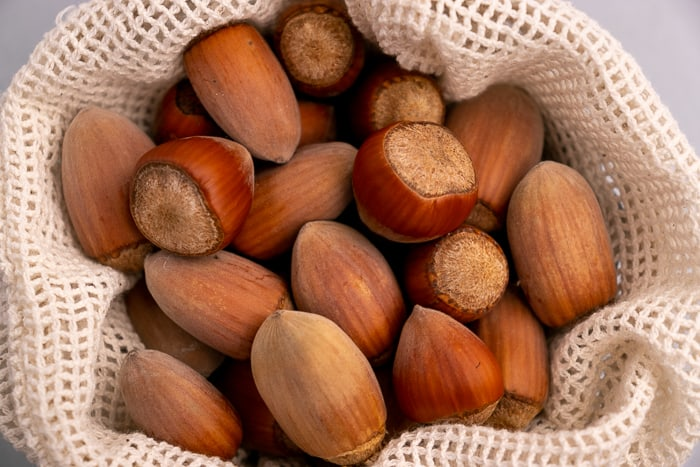 Hazelnuts in a textile bag