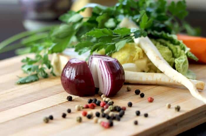 Red onion on cutting board