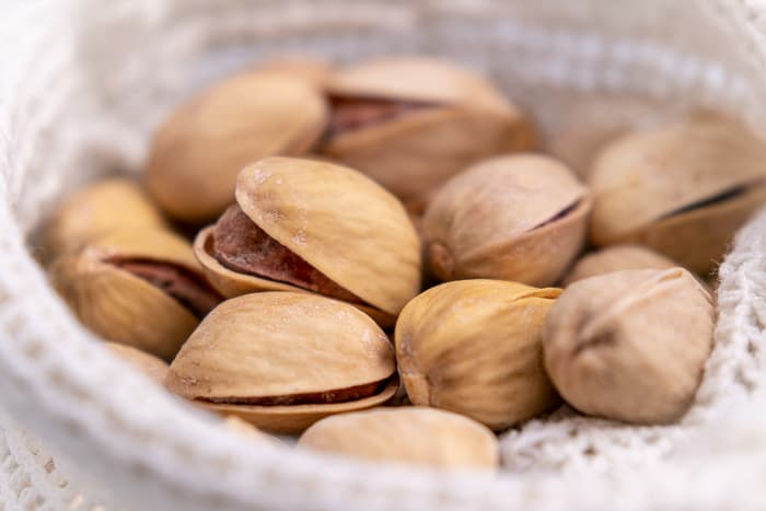 Pistachios in a bag closeup