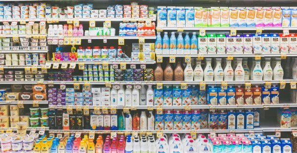 Shelf with almond milk