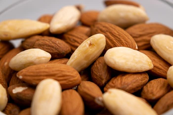 Almonds in a glass bowl closeup
