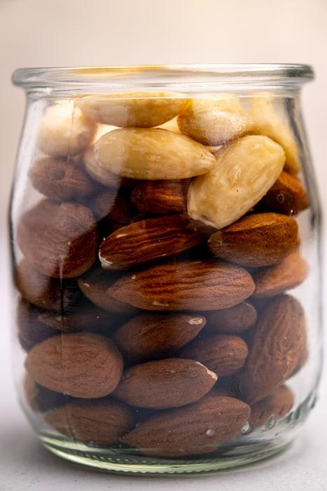 Almonds in a small glass jar