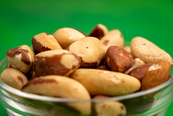 Brazil nuts in a glass bowl