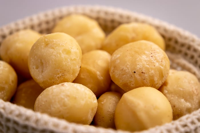 Macadamia nuts in a bag closeup