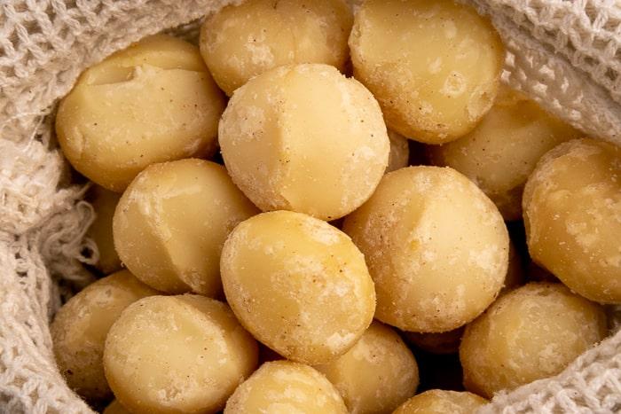 Macadamia nuts in a textile bag